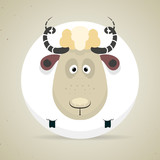 Cute cartoon smiling sheep standing facing the camera