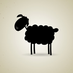 Cartoon silhouette of sheep standing sideways to the camera