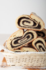 Basket of rolls with poppy seeds