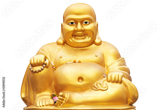Smiling Golden Buddha Statue isolated on a white background