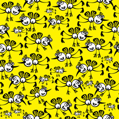 mosquitoes on seamless pattern