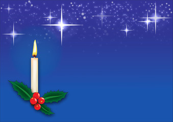 Christmas Card with candle, holly, stars and snow