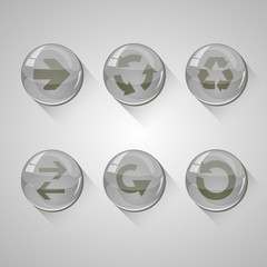 Detailed grey glossy arrow buttons set with long shadow.