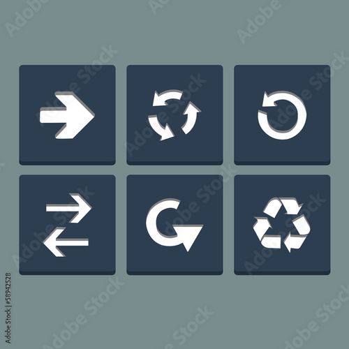 Simple white stamp flat arrow icons set.