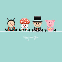Ladybeetle, muchomor, Chimney Sweeper & Pig lucky charms Retro