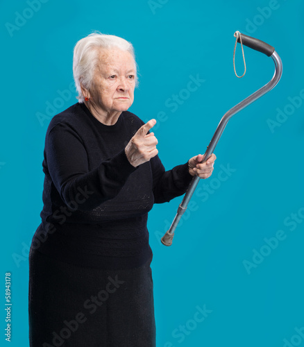 Old angry woman