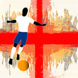 Football England, Vector Soccer player over a grunged English Fl