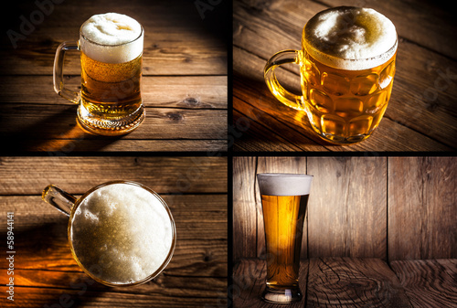 collage of four photos illustrating beer