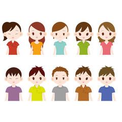 若い男女10人 色々な顔