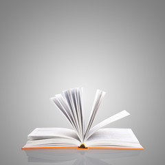 open book on grey background