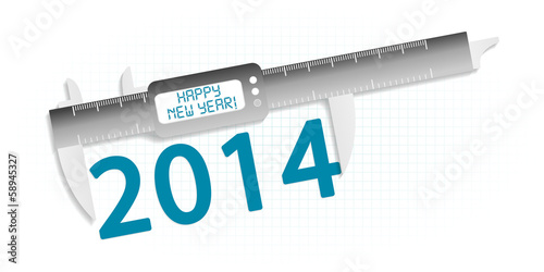 Happy new year 2014 precision measuring tool concept