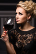 Beautiful woman with glass of wine