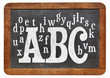 ABC and alphabet on blackboard
