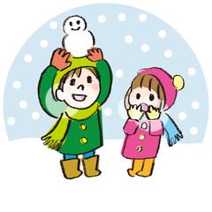 雪の中で遊ぶ子供