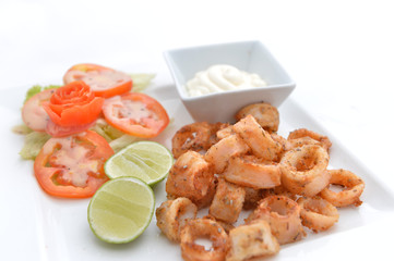 Deep Fried Calamari Rings with Sauce Bowl
