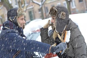 Loving couple having winter fun