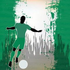 Football Nigeria, Vector Soccer player over a grunged Nigerian F
