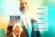 Business risk management concept man pointing interface