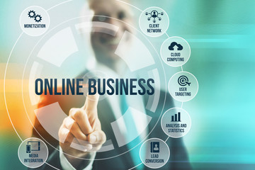 Business man selecting online business concepts