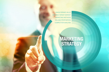 Marketing strategy business concept pointing and selecting