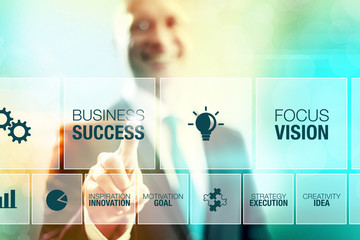 Business man selecting success concept pointing interface