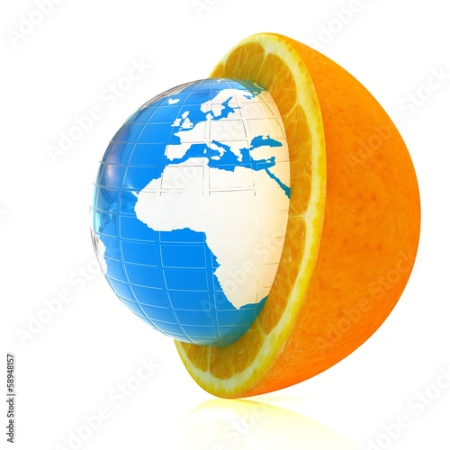 Earth on orange fruit. Creative conceptual image.