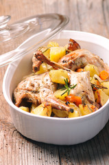 Roasted rabbit whit herbs and garlic