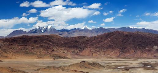 Panorama of mountain landscape in Ngari Prefecture, Tibet
