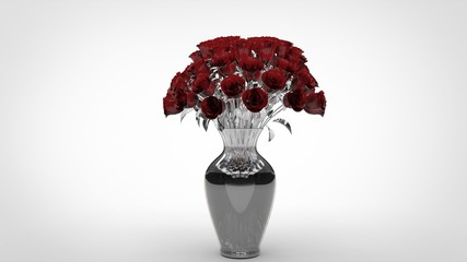 Bouquet de Roses rouge en cristal dans vase
