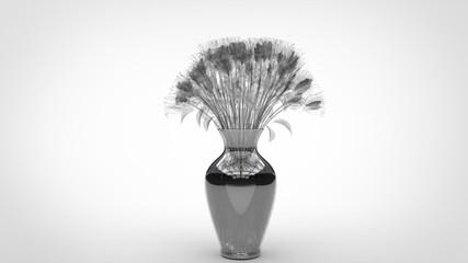 Bouquet de Roses blanche en cristal dans vase