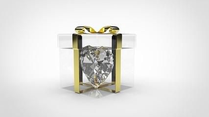 Boîte Cadeau Transparente - Coeur diamant