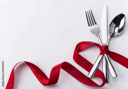 Staande foto Boord Silverware set for Valentines day