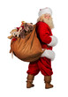 Real Santa Claus carrying big bag full of gifts from behind