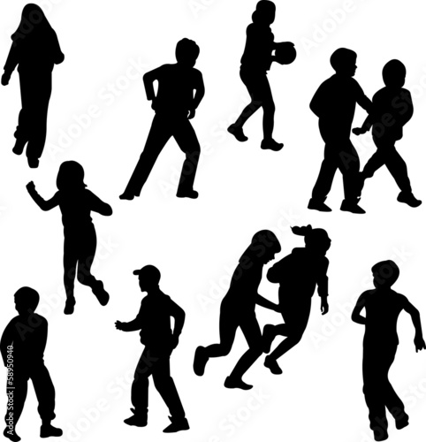 Group of children on the move silhouettes