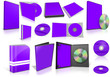 Violet multimedia disks and boxes on white