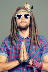meditating hippie