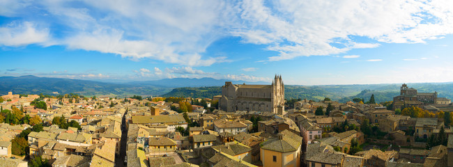 Orvieto town and Duomo cathedral church aerial view. Italy