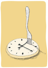 orologio e forchetta