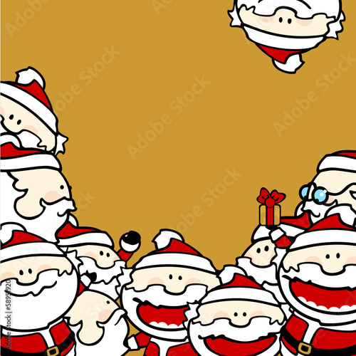 Christmas background with Santa Clauses, square