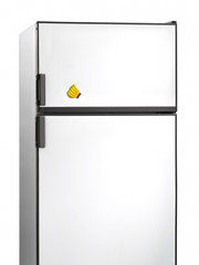 Old fridge with banana plastic magnet