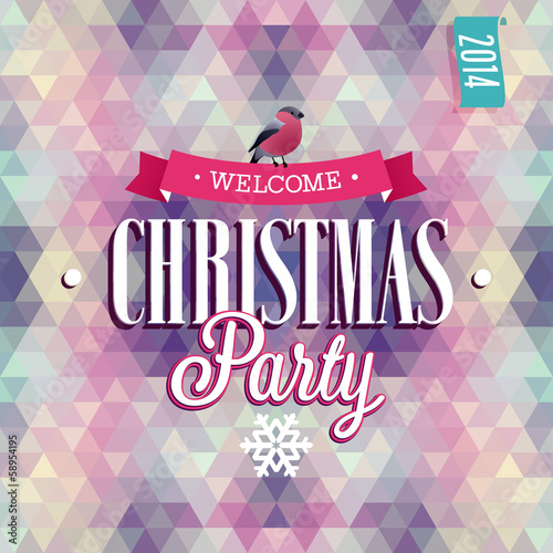 """Christmas Party"" Poster. Vector illustration."