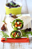 Fresh tortilla wraps with vegetables