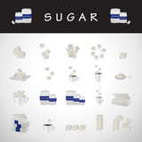Sugar Icons Set - Isolated On Gray Background