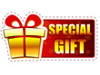 christmas special gift and present box on red banner with snowfl