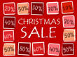 christmas sale and percentages in squares - retro red label