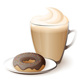 cup of cappuccino with donut