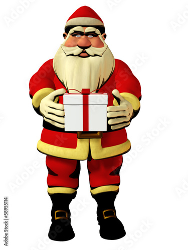 Santa Claus holding gift box 3d illustration