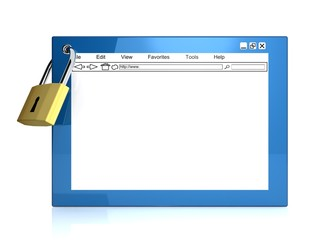 Internet browser with padlock - security concept