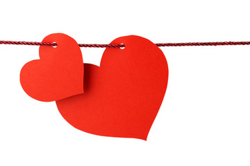 hearts hanging from a red cord