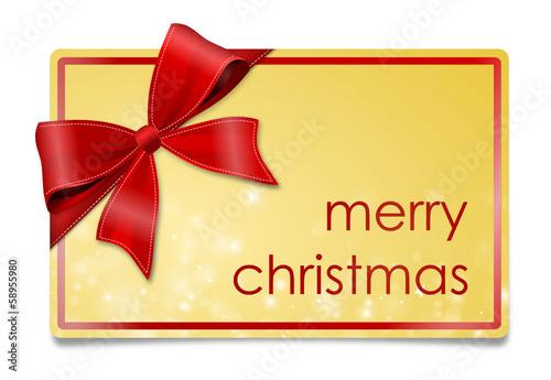 Karte gold mit Schleife - Weihnachten